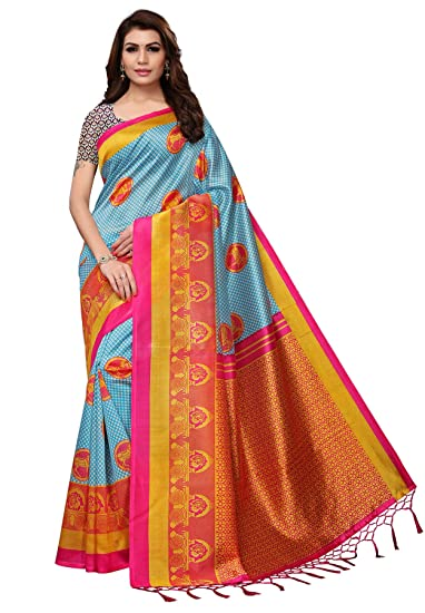 25c33be71b4 Salwar Studio Women s Blue   Pink Mysore Silk Printed Saree with Blouse  Piece(OM-0041348 Blue Free Size)  Amazon.in  Clothing   Accessories