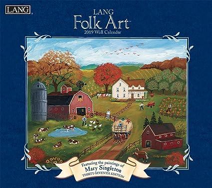 2019 Calendar January With Center Seam Amazon.: The LANG Companies Folk Art 2019 Wall Calendar