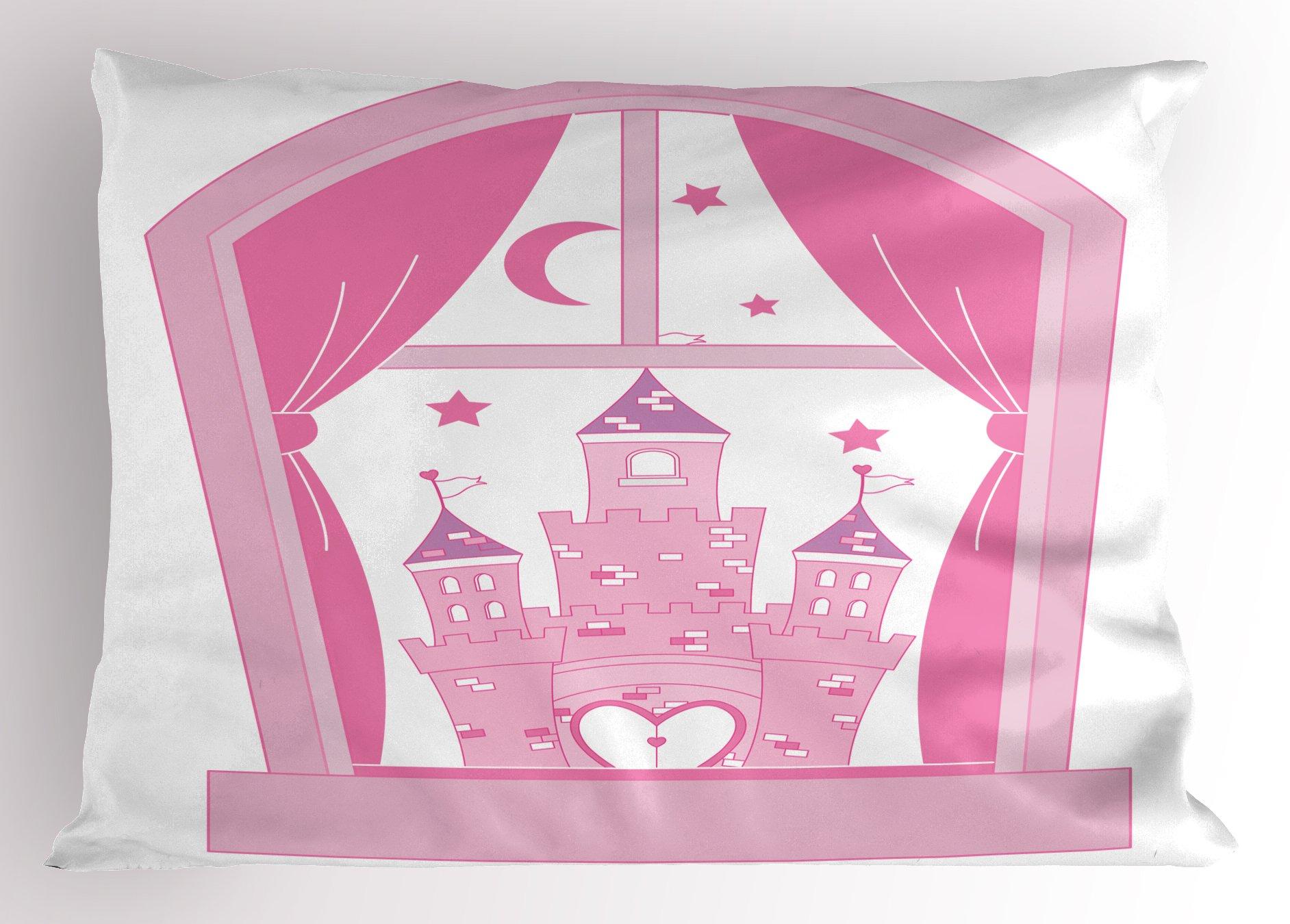Ambesonne Princess Pillow Sham, Princess Castle Night Sky Stars Moon Palace Royalty Love Window Cartoon Print, Decorative Standard Size Printed Pillowcase, 26 X 20 inches, Pink Rose White