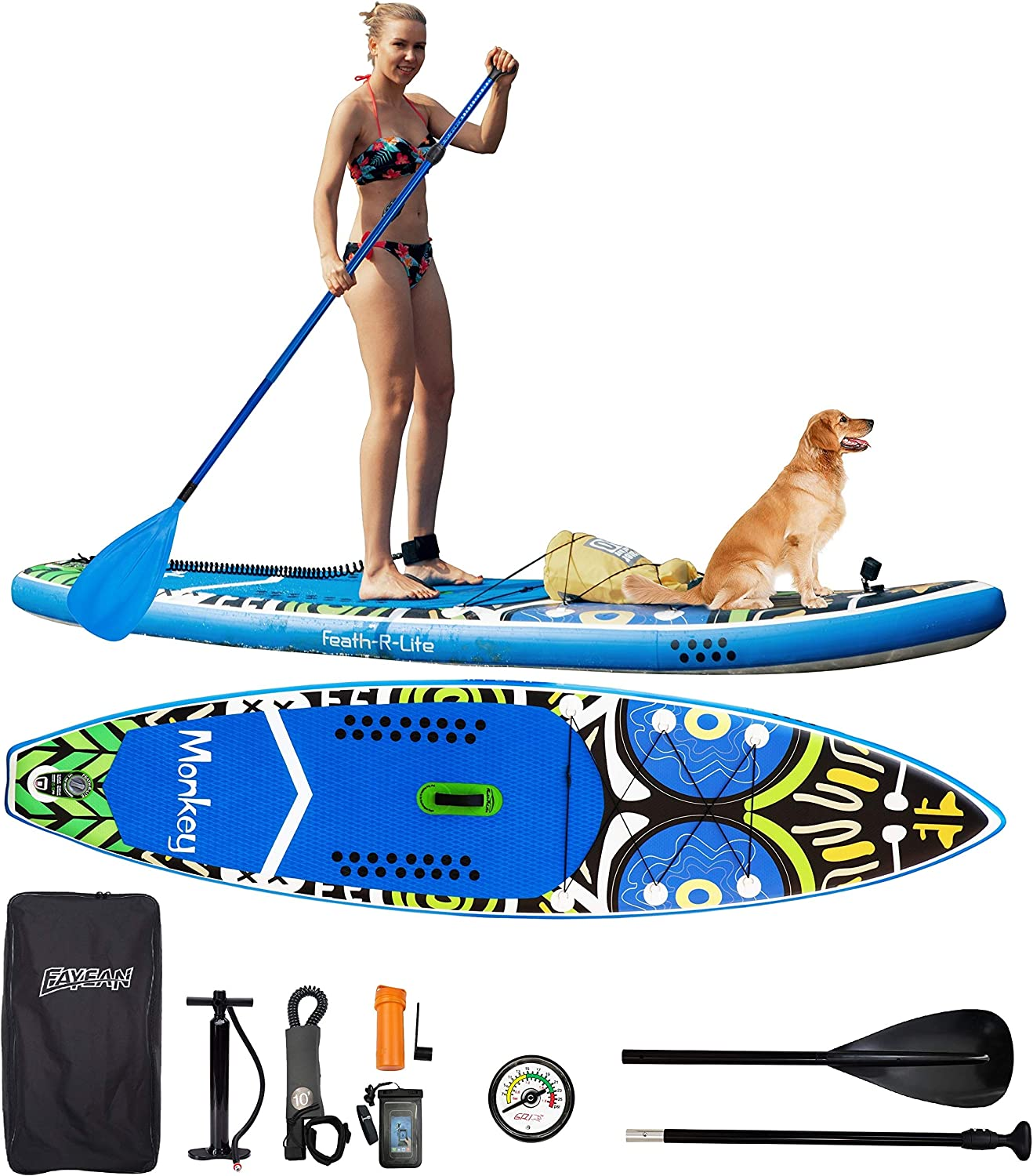 FAYEAN Inflatable Stand Up Paddle Board Cruise SUP ISUP Board 11' x 33''x 6'' Thick Includes Hand Pump, Paddle, Backpack, Fin, Coil Leash and Universal Waterproof Case