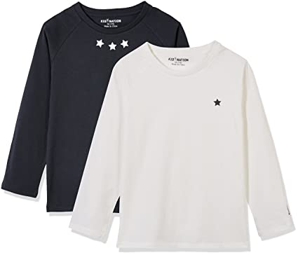 d87dc4eabf Amazon.com: Kid Nation Kids 2 Pack Solid and Stripe Long Sleeve Crew Neck T- Shirts: Clothing