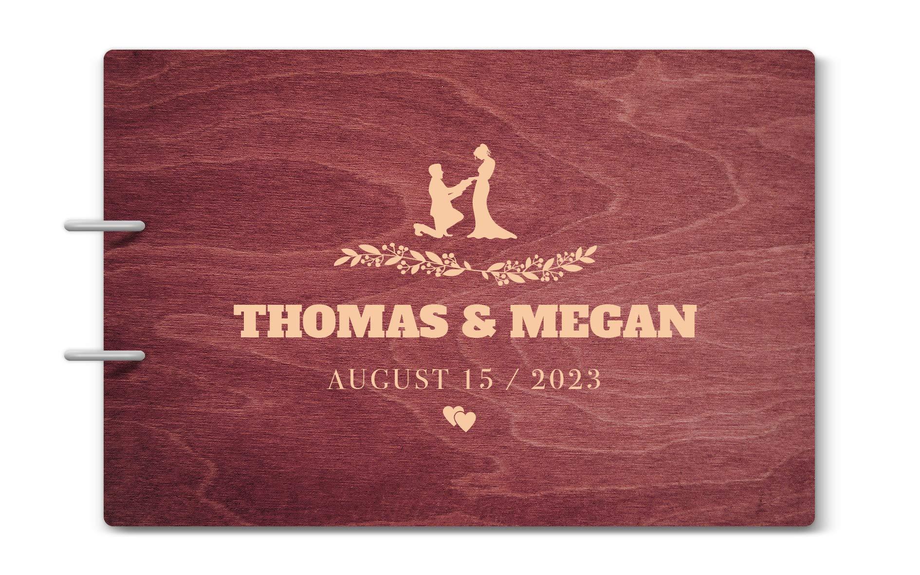Custom Engraved Wooden Rustic Vintage Wedding Guest Book - Personalized Mr. & Mrs. Wreathe Monogrammed Guestbook - 11 Rose