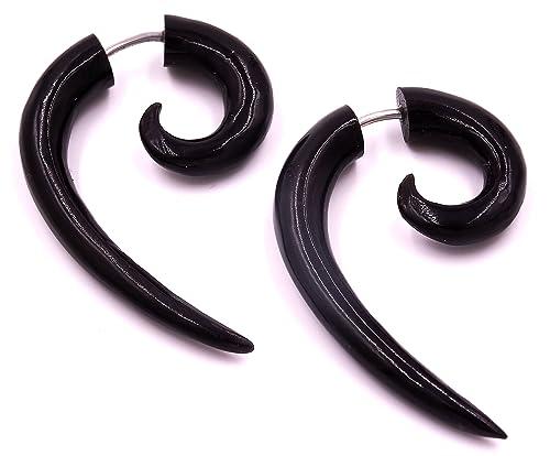 Falso Dilatador Pendientes Piercing Cuerno Negro étnica Gauge Horn ...