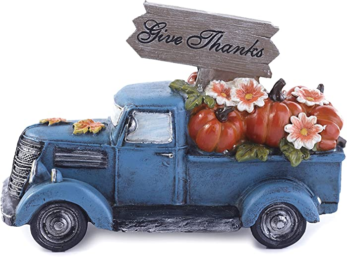 The Lakeside Collection Harvest Lighted Pickup Truck with Pumpkins in Rear Bed - Give Thanks