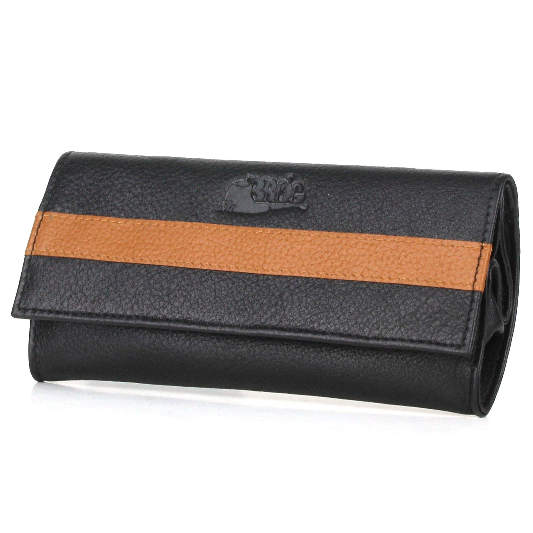 Pipe Tobacco Pouch - Nappa+Camelo Leather - [Black+Tan]