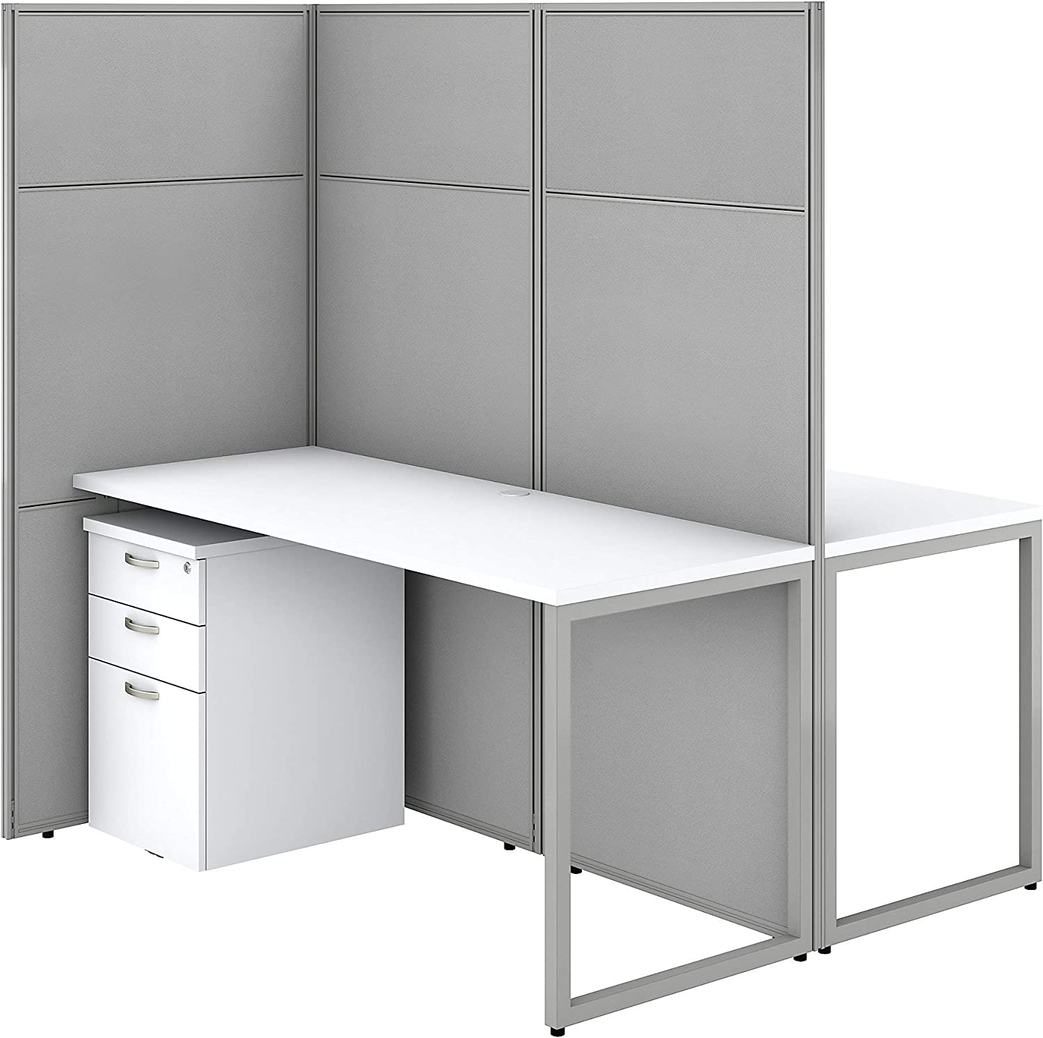 Bush Business Furniture Easy Office 2 Person Cubicle Desk with File Cabinets, 60W x 66H, Pure White