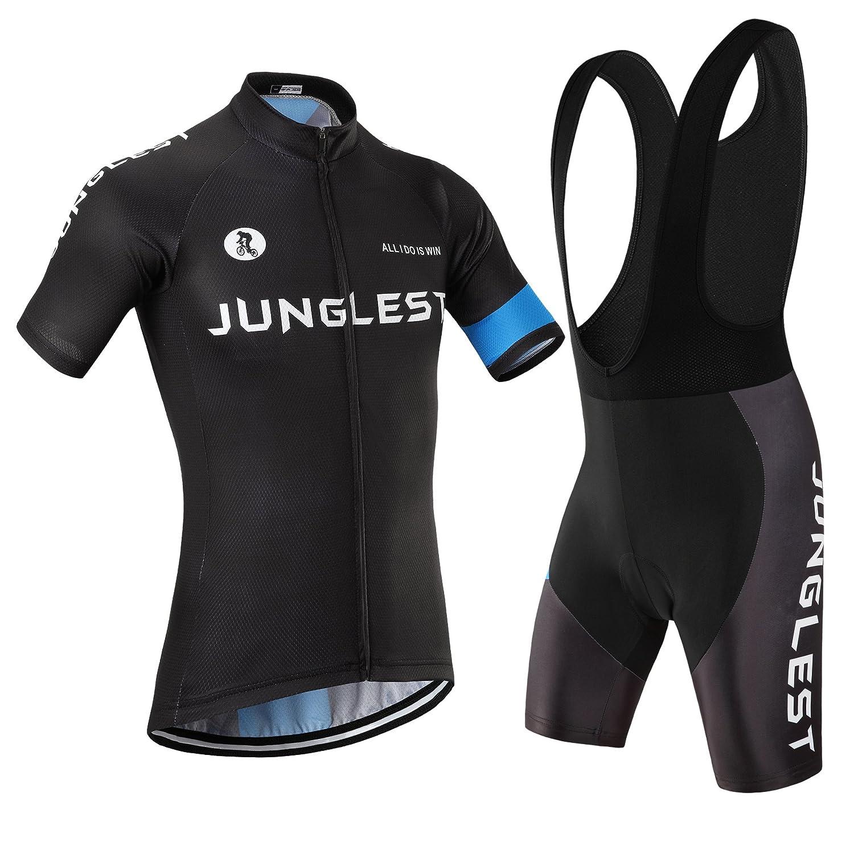Cycling Jersey Set Wen半袖( S ~ 5 X L、オプション:よだれかけ、3dパッド) n1 B00SF5GV6E  種類: セット(ブラック前掛け) (3D pad)(Chest 45-47inchs)