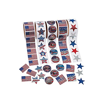 Fun Express - Patriotic Roll Sticker Set (5pc) for Fourth of July - Stationery - Stickers - Stickers - Roll - Fourth of July - 5 Pieces: Toys & Games