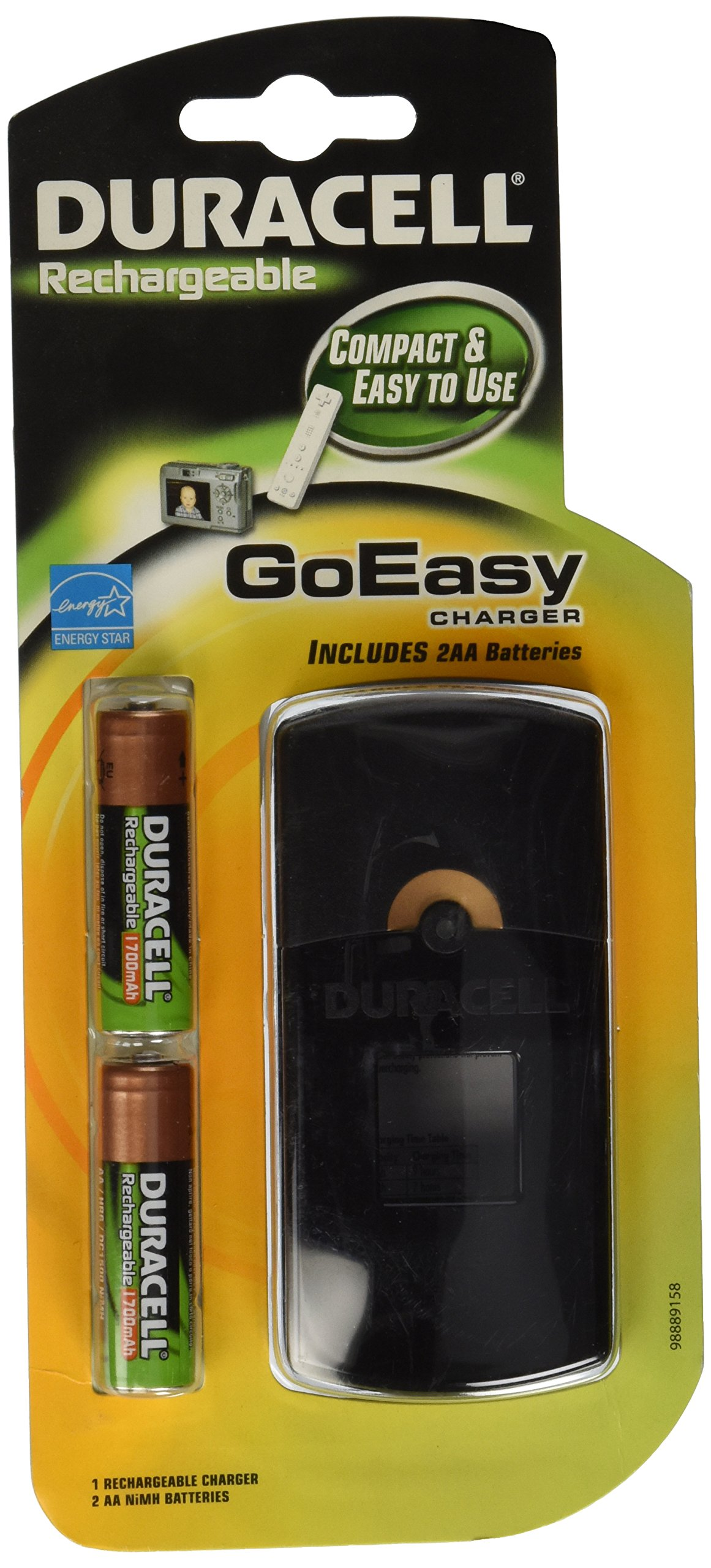 Duracell GoEasy Charger / Rechargable / includes 2 AA rechargeable batteries,