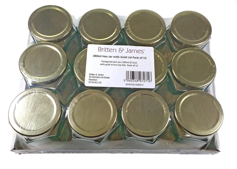 encurtidos y Salsa Picante Britten and James 9,5 oz Tarro de Mermelada Hexagonal de 280 ml con Tapa Superior Dorada Paquete de 12 Mermelada casera