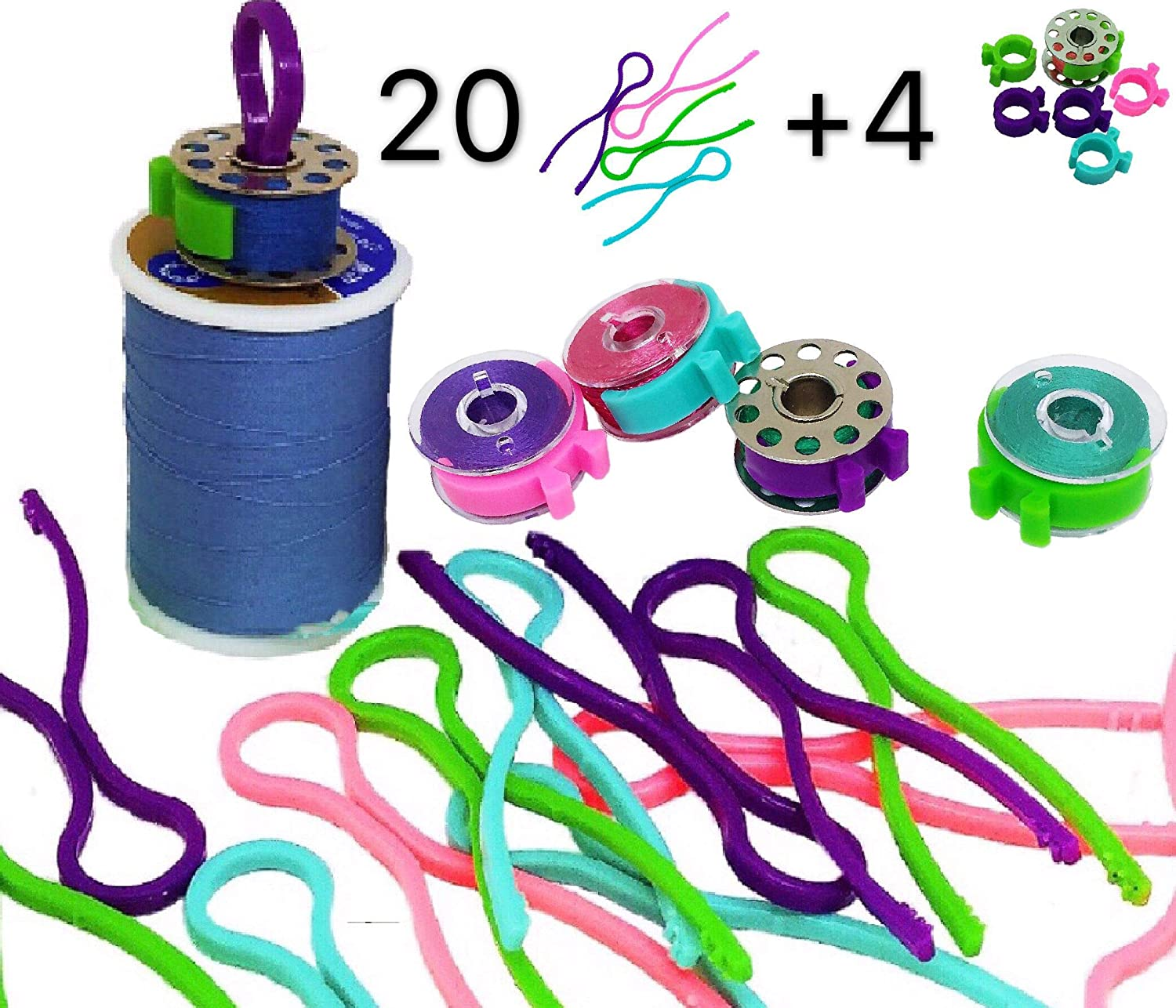 PeavyTailor Bobbin Buddies 24pcs Bobbin Holder Clamp Clips Thread Organizer Matching Thread Spools Together Sewing Machine 20+4 peavytailor.com