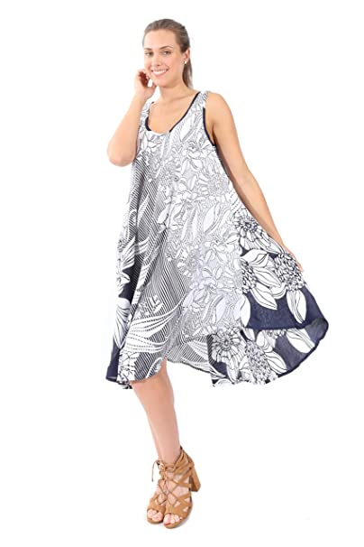 d8276684d B07CLJTX8H Vestido Estampado de Flores Amplio y Fresco -Village  Venture-Primavera Verano(