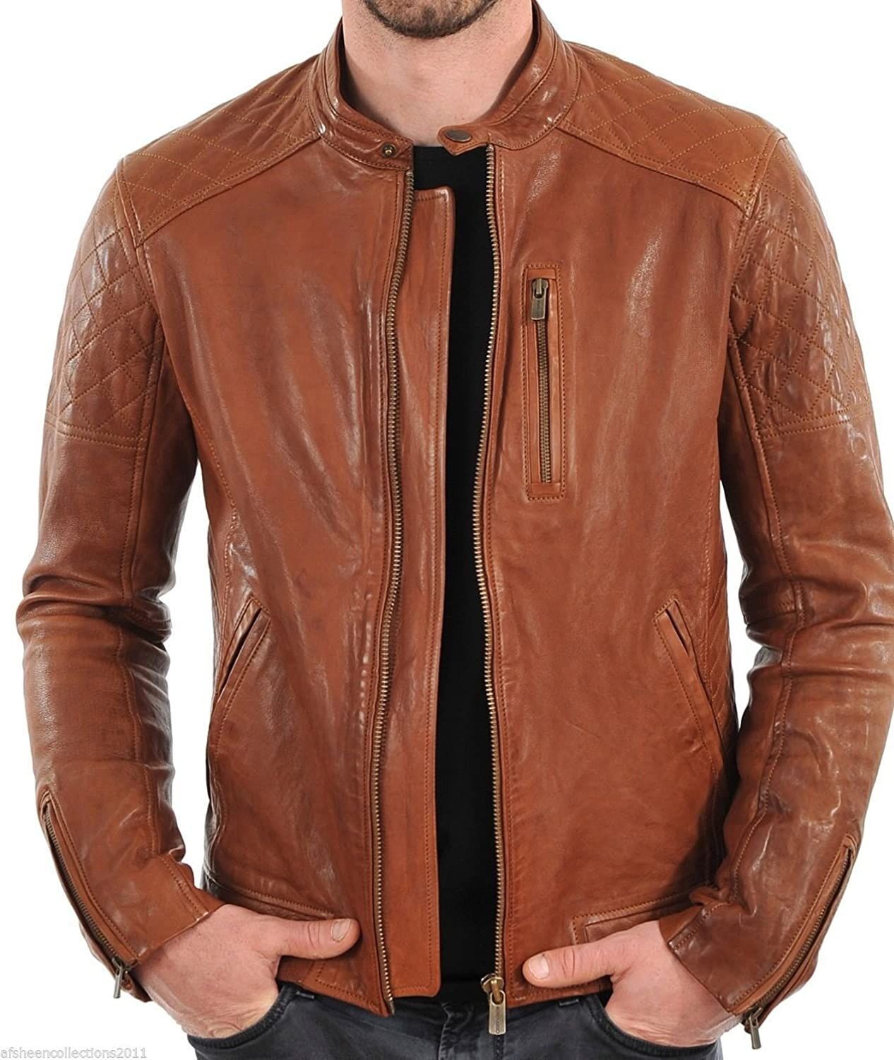 Iftekhar Men's Pure leather Jacket - tan - (Iftekhar38): Amazon.in ...