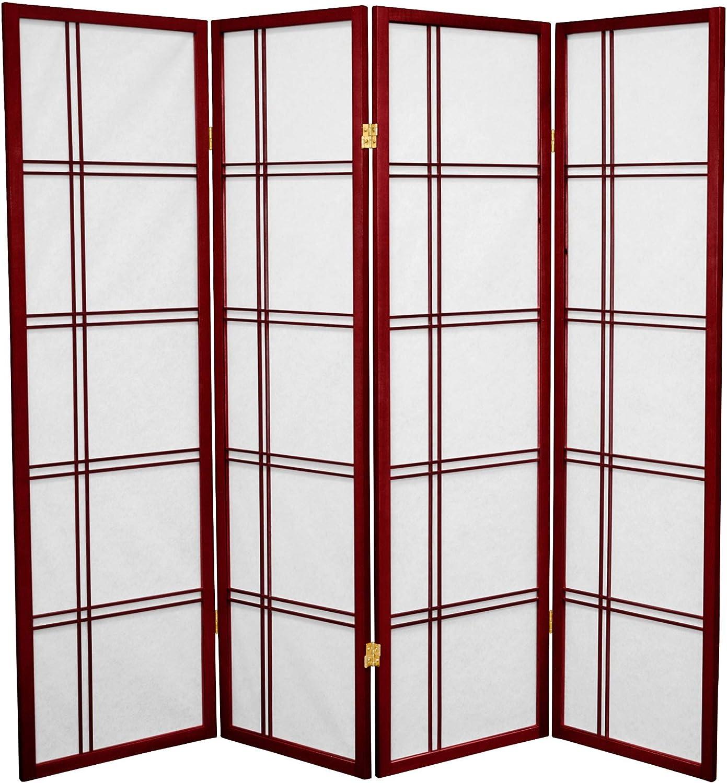 Oriental Furniture 3-Feet Cross Hatch Japanese Shoji Privacy Screen Room Divider 4 Panel Rosewood