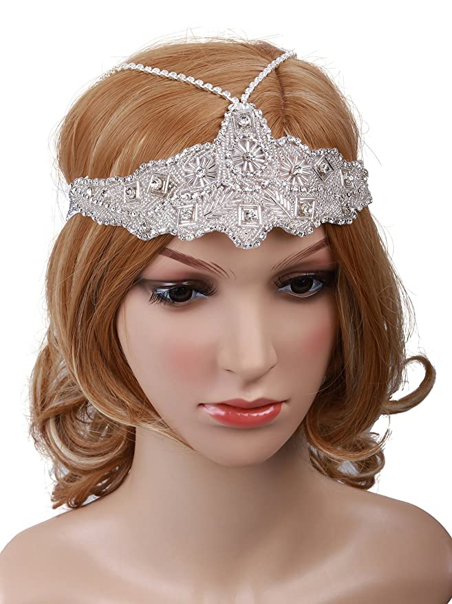 1920s Headband, Headpiece & Hair Accessory Styles Vijiv Womens Silver Headchain Headpiece Vintage 1920s Flapper Headband $15.99 AT vintagedancer.com