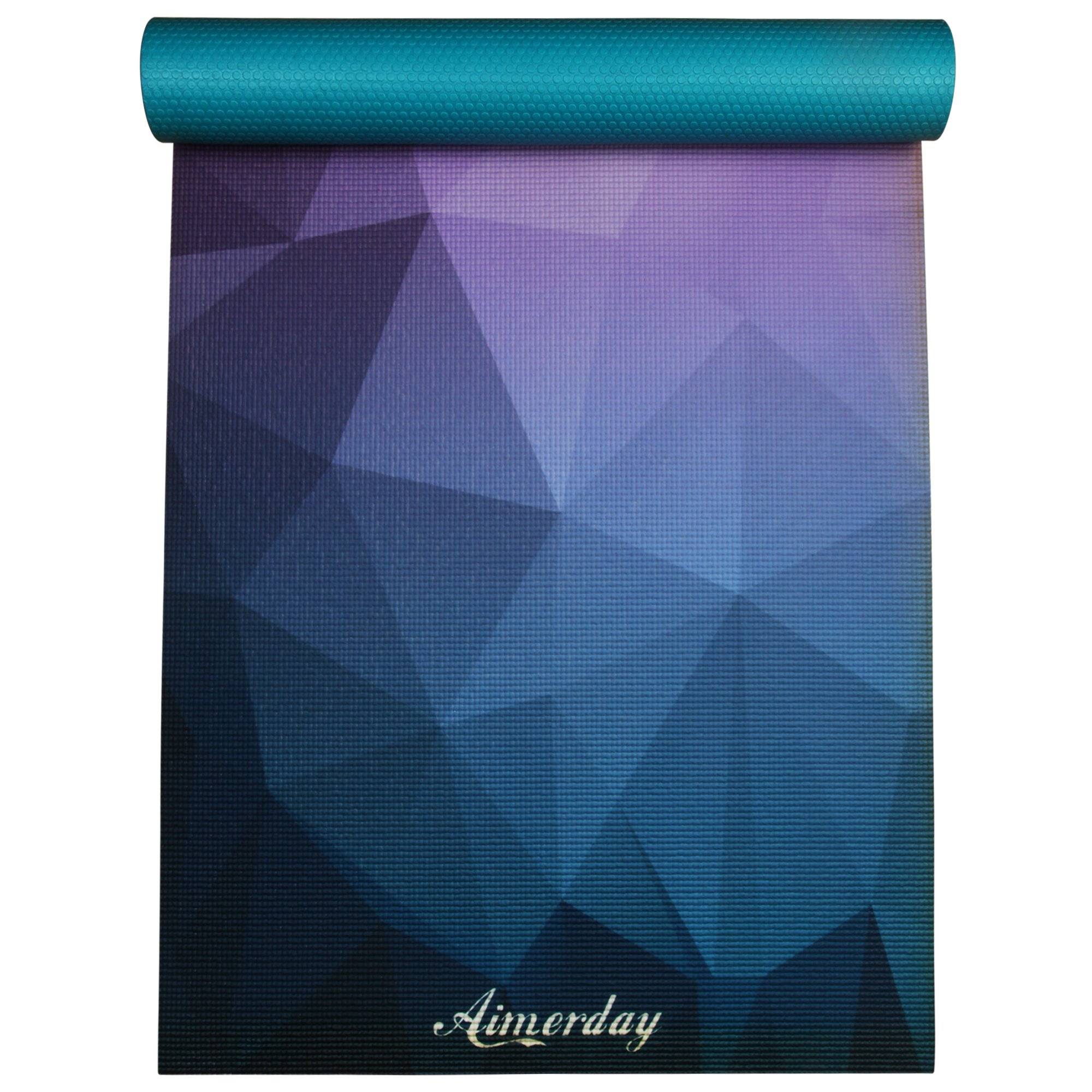AIMERDAY Premium Printed 1/4'' Extra Thick Yoga Mat High Density 72X24 Inch Non Slip Eco-Friendly Anti-Tear Floor Pilates Exercise Mat for Yoga, Workout, Fitness with Carrying Strap & Bag 6mm