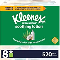 Kleenex Soothing Lotion Facial Tissues with Coconut Oil, Aloe & Vitamin E, 8 Cube Boxes, 65 Tissues Per Box (520 Total…