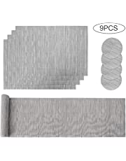 Aiglam Placemats, Placemats and Coaster Sets,Place mats,Stain-resistant Cross weave Woven Vinyl Non-Slip Washable Heat Resistant Grey Place Mats