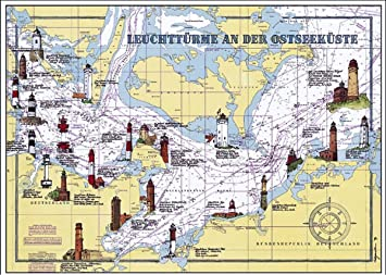 Kunstdruck 70 X 50 Leuchtturme Ostsee Auf Seekarte Leuchtturm