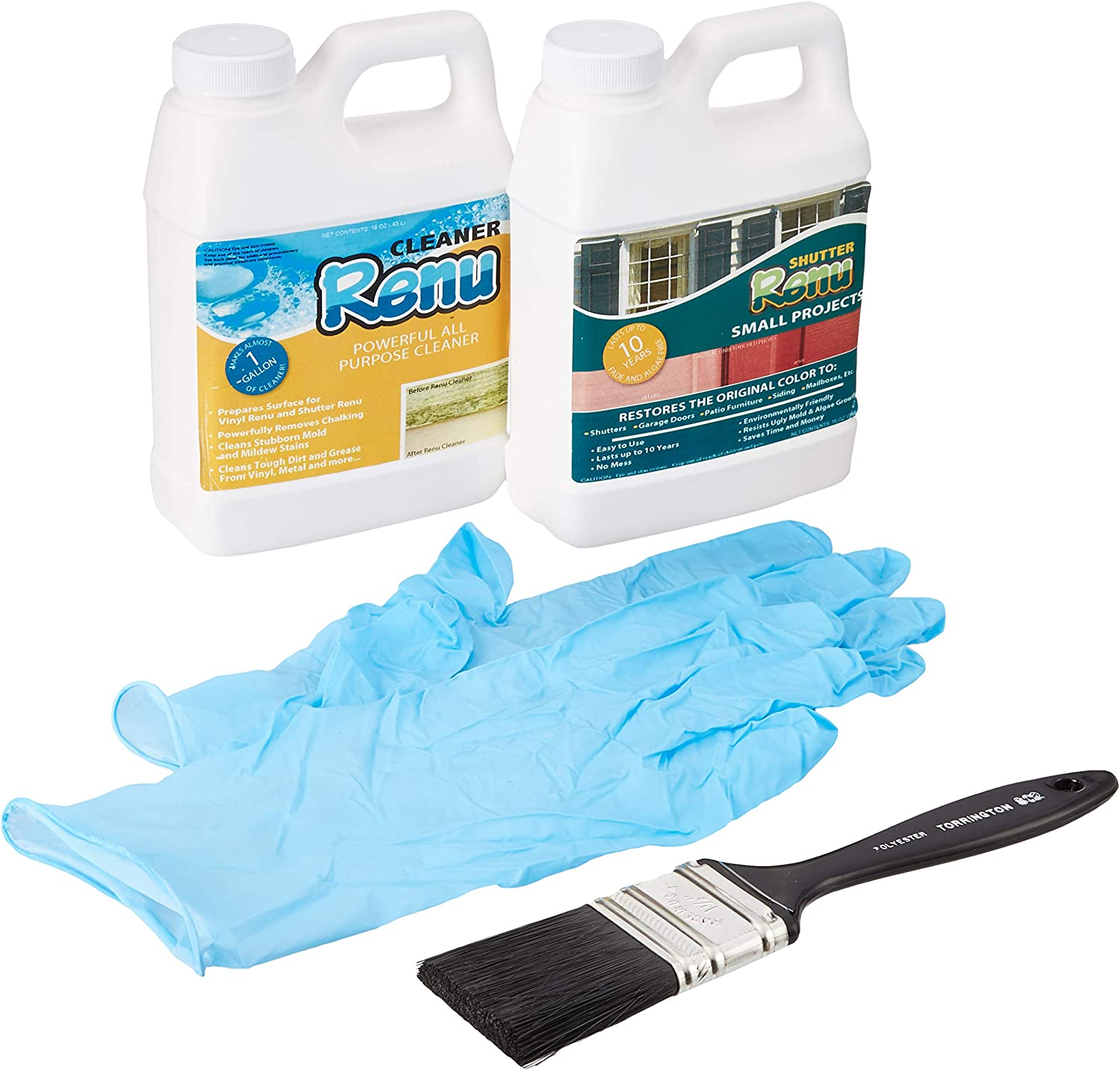 Shutter Renu Small Project Kit-Shutter Restorer Cleans, Protects and Restores Color to Faded Shutters, Patio Furniture, Mailboxes, Doors & Fiberglass. Easy to Use and Lasts 10 Years. No Toxic Odors