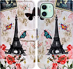 iPhone 12 Mini Case,Bcov Paris Tower Butterfly Leather Flip Phone Case Wallet Cover with Card Slot Holder Kickstand for iPhone 12 Mini