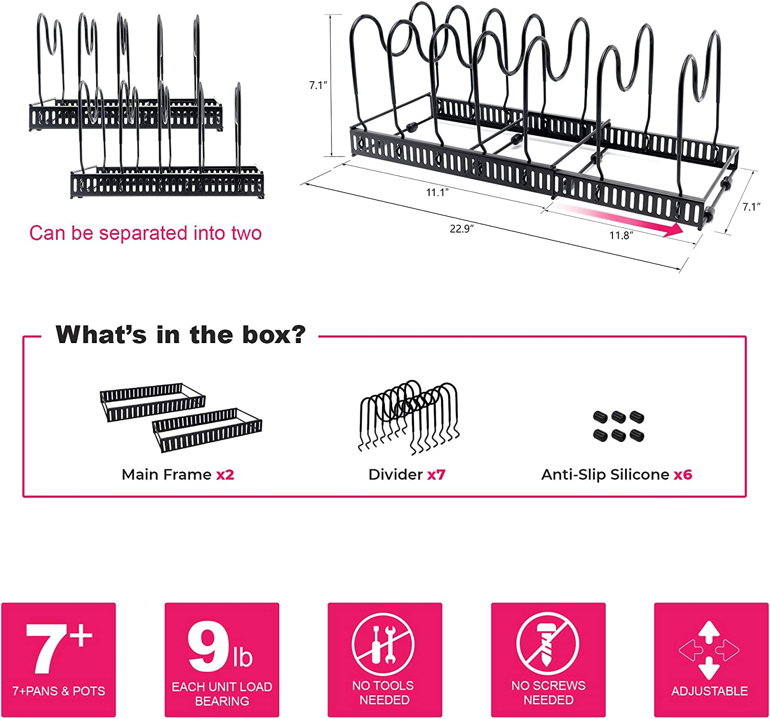 Counter Organization and Lid Holder Expandable 7+ Pan Organizer and Pot Rack Easy To Pull and Expand Up To 22.9 Inches Rustproof Kitchen Cabinet Storage Organizer For Heavy Pots Pans and Cookware
