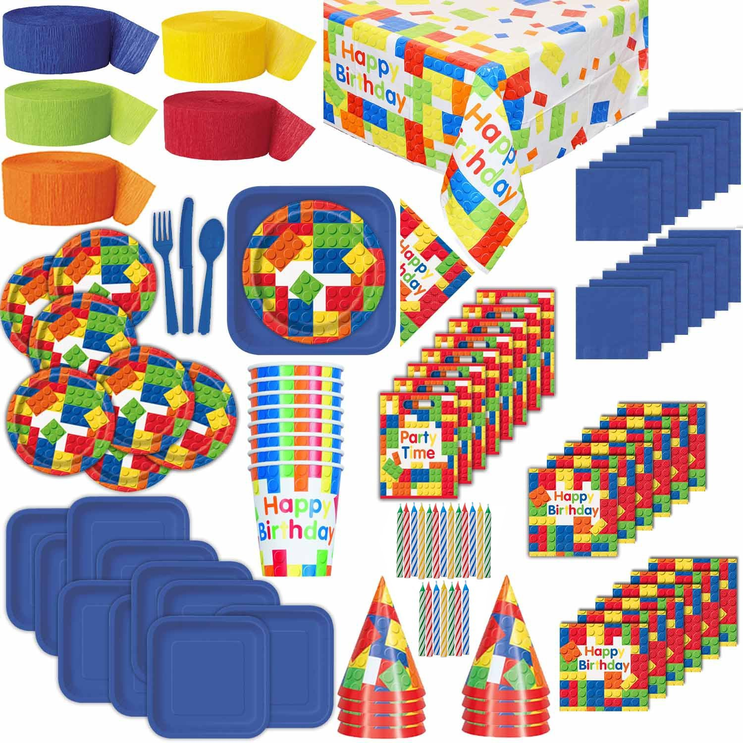 HeroFiber Lego Theme Birthday Party Supplies for 16: Plates, Cups, Napkins, Tablecloth, Cutlery, Streamers, Candles, Loot Bags, Birthday Hats