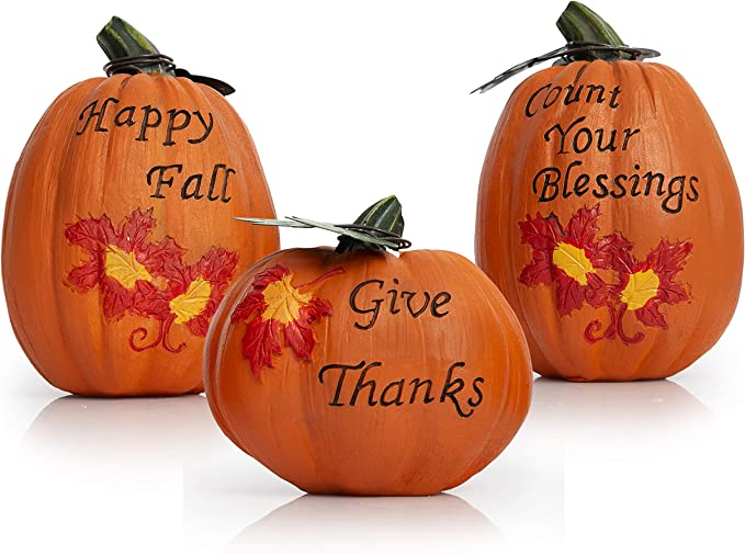 Besti Fall Harvest Pumpkin Decorations 3 Piece Set Inspirational Thanksgiving And Autumn Tabletop Home Decor Rustic Country Decorative Props Kitchen Living Room Home Kitchen Amazon Com