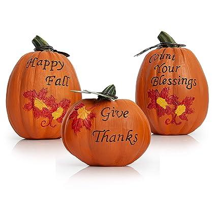 Besti Fall Harvest Pumpkin Decorations (3,Piece Set) Inspirational  Thanksgiving and Autumn Tabletop Home Decor