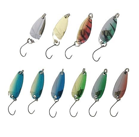【オルルド釣具】10個セットマイクロスプーン3g3.0cm/4個(4色)&3g2.8cm/6個(6色)管釣り・渓流に最適便利なスプーン用ミニタックルケース付管理釣り場でのルアーフィッシングに!OrurudoスプーンセットCqb100082a01n0の画像