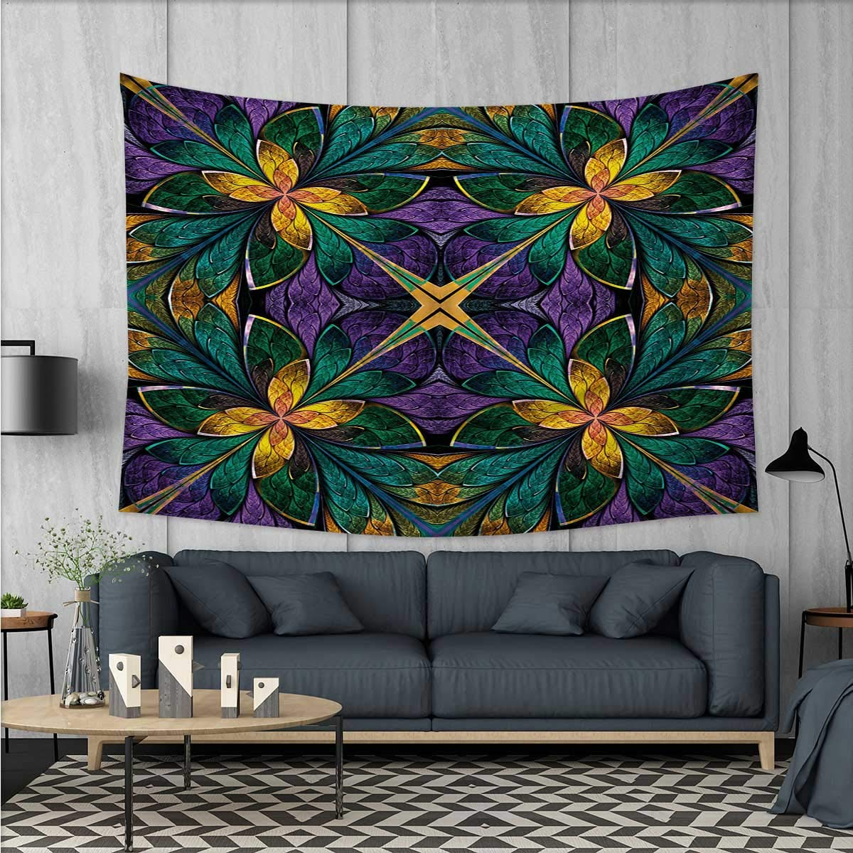 Fractal Customed Widened Tapestry Antique Ornate Symmetric Stained Glass Mosaic Window Style Floral Tile Pattern Wall Hanging Tapestry 90''x60'' Green Purple