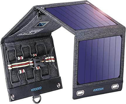 VITCOCO Panel Solar Portátil, 16W Portatil Cargador Solar Portátil Plegable Impermeable Power Bank con 2 USB de Salida Puertos for Telephone, Camera ...