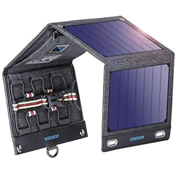 VITCOCO Panel Solar Portátil, 16W Portatil Cargador Solar Portátil Plegable Impermeable Power Bank con 2 USB de Salida Puertos for Telephone, Camera ...