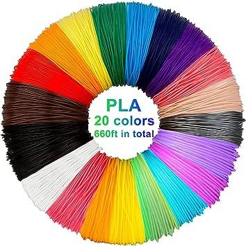 3D pluma filamento 20 colores 10m PLA Materiales de Impresión 3D ...