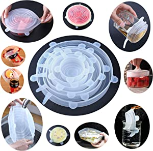 """Silicone Stretch Lids Set of 6 Pack Multi Size Eco-friendly Reusable Lids Fits 2.6""""- 11"""" for Foods, Bowls, Jars, Cups, Pots, Mugs Covers"""