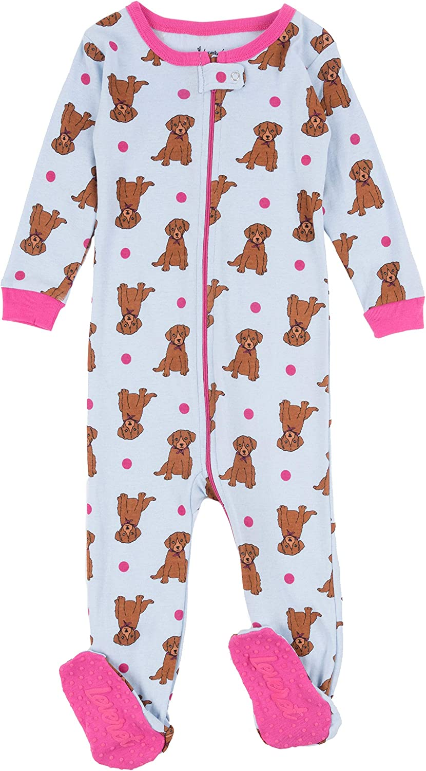 Size 12-18 Months Leveret Kids Monkey Pink Baby Girls Footed Pajamas Sleeper 100/% Cotton