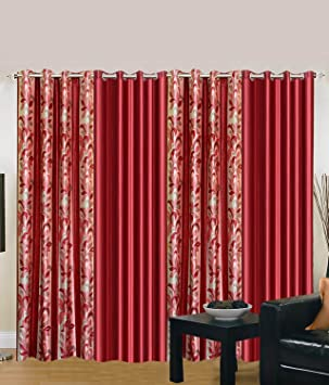 Exporthub 4 Piece Eyelet Polyester Door Curtain Set - 7ft, Maroon Curtains at amazon