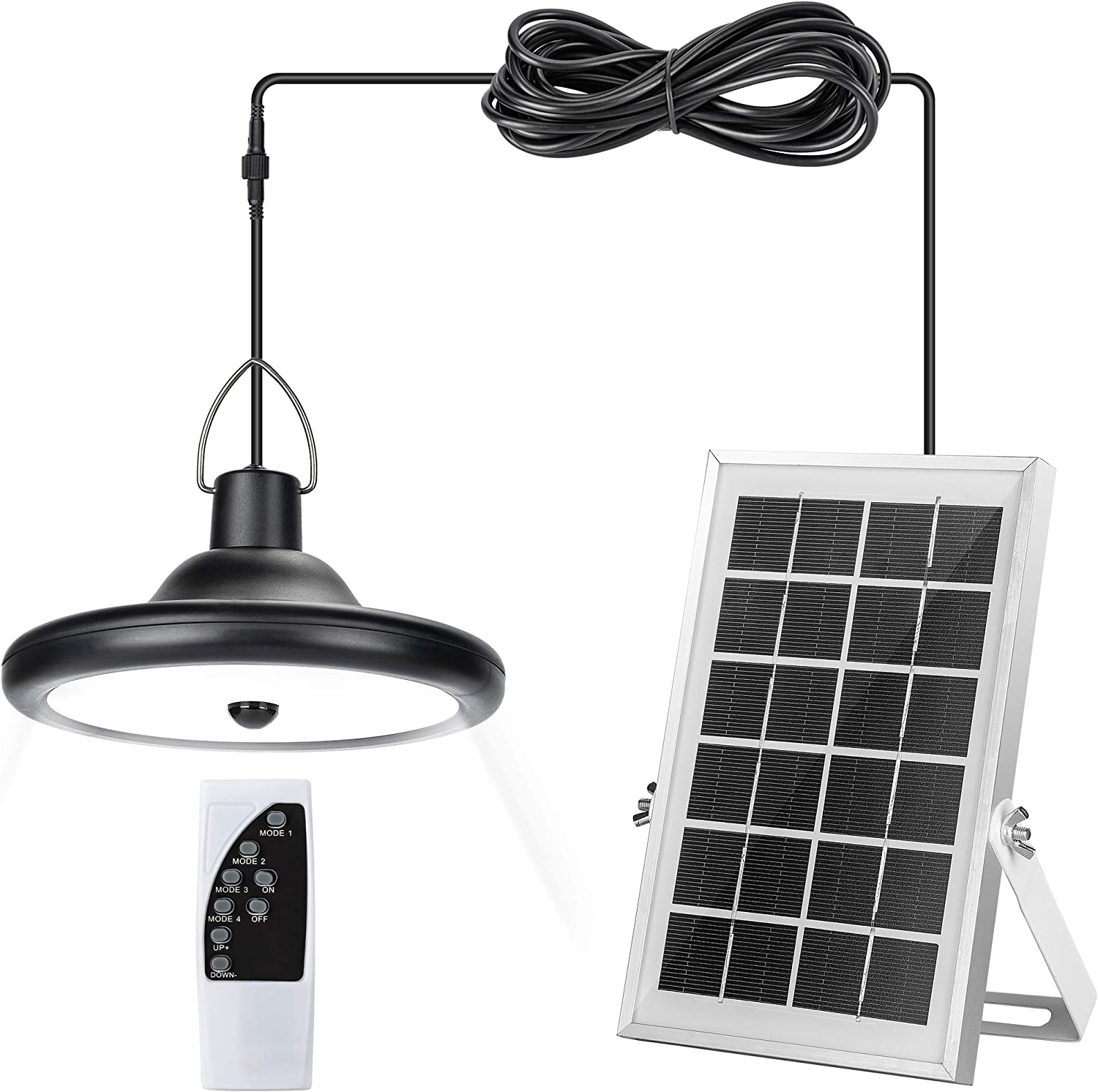 Upgraded Solar Pendant Light Motion Sensor JACKYLED Outdoor IP65 Waterproof LED Hanging Solar Shed Light with Remote Control 16.4Ft Cord Adjustable Solar Panel for Garden Home Chicken Coop, Cool White
