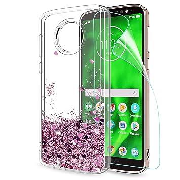 LeYi Funda Motorola Moto G6 Silicona Purpurina Carcasa con HD Protectores de Pantalla,Transparente Cristal Bumper Telefono Gel TPU Fundas Case Cover ...