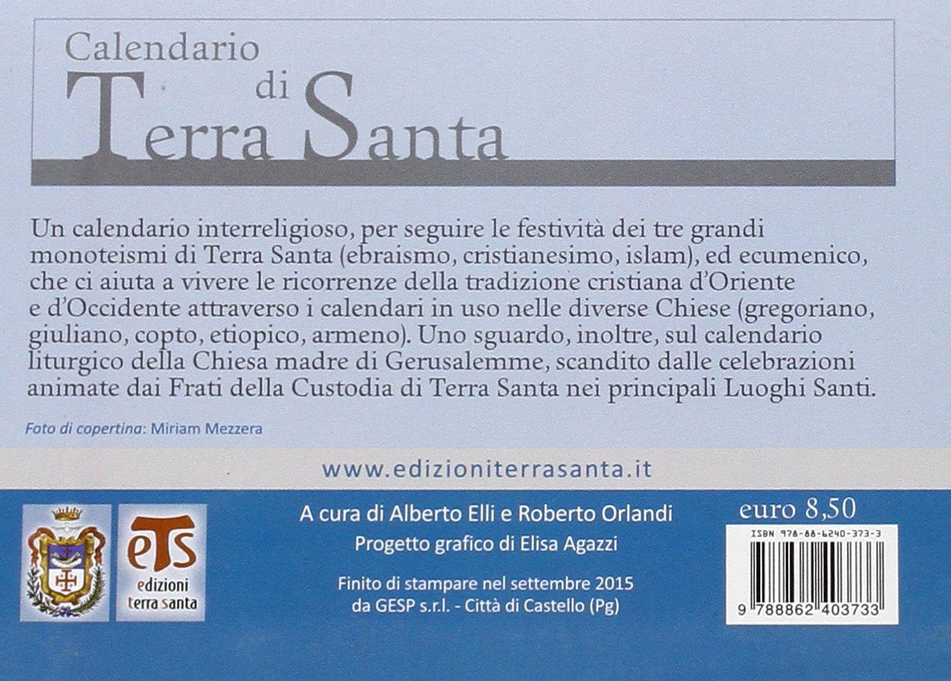 Calendario Copto.Calendario Di Terra Santa 2016 Italian Edition Alberto