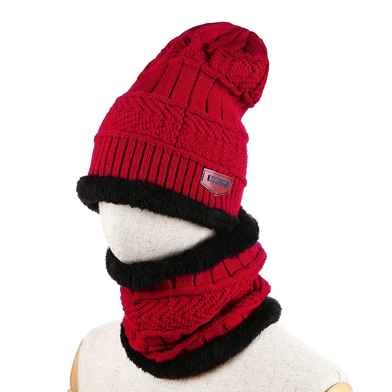 Unisex Winter Plus Velvet Thick Warm Hat Knitted Sets of Caps CA-EL-Hat5-BL