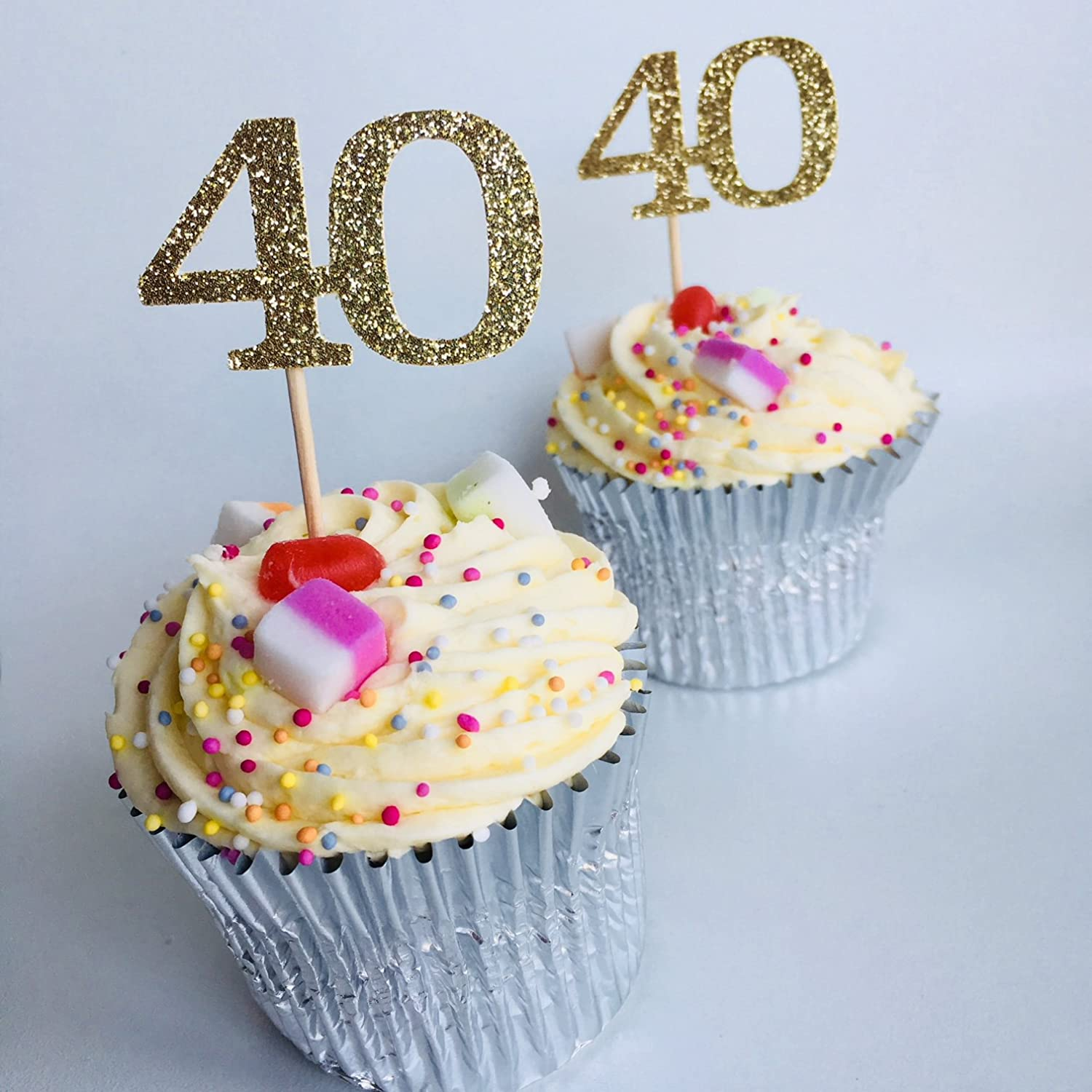 Surprising 40Th Birthday Cupcake Topper 40 Birthday Decoration 40 Age Funny Birthday Cards Online Overcheapnameinfo