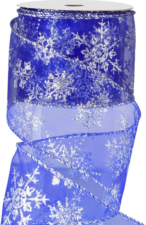 Argento, 10 m Decorazioni per Feste 6.3 cm in Larghezza Nastro di Organza Nastro Glitterato a Filo Metallico con Fiocco di Neve con Bobina per Decorazione Natalizia Confezioni Regalo