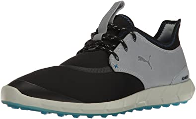 PUMA Golf Men's Ignite Spikeless Sport Golf Shoe, Black-Quarry-French Blue,