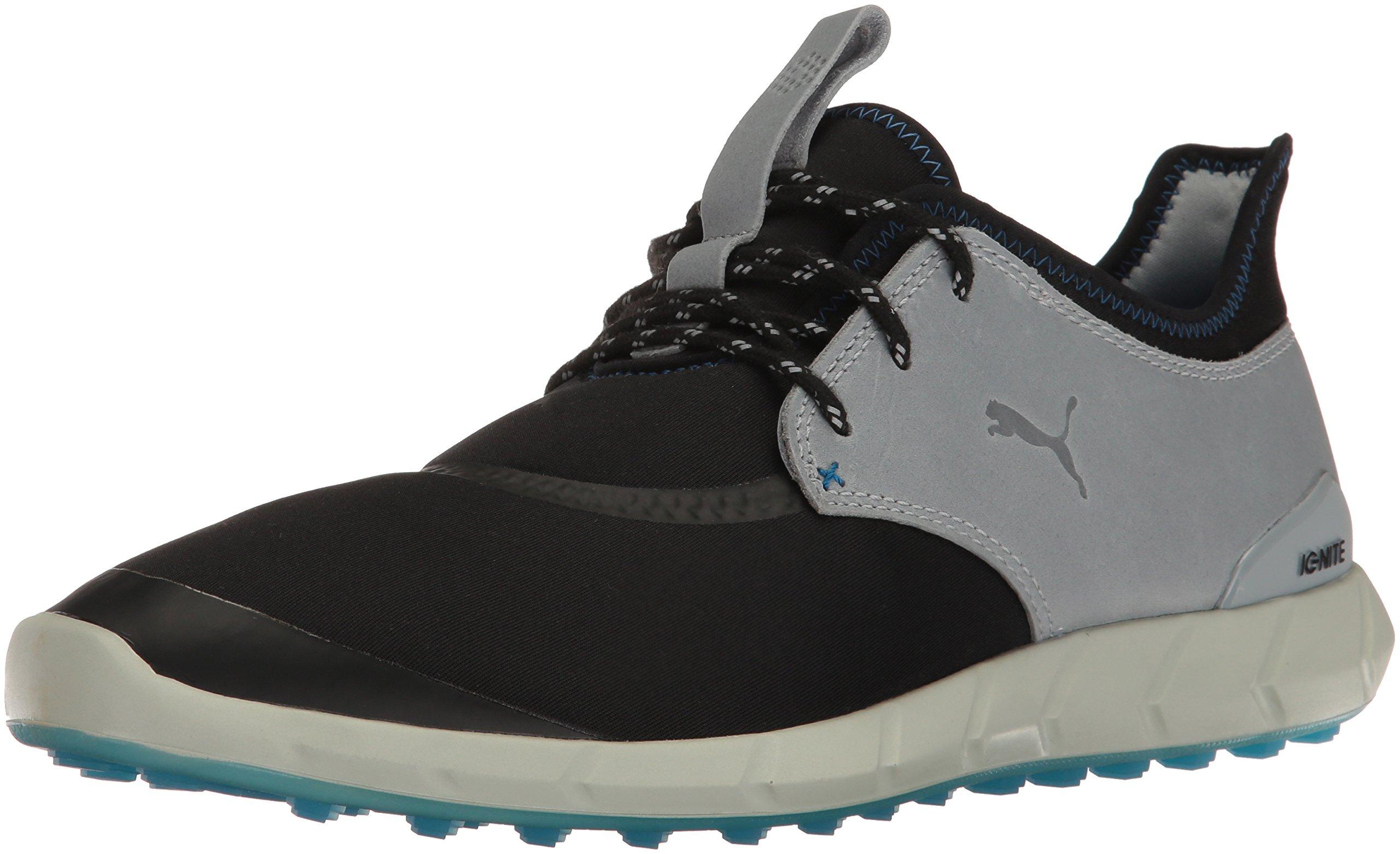 PUMA Men's Ignite Spikeless Sport Golf Shoe, Black-Quarry-French Blue, 9 Medium US