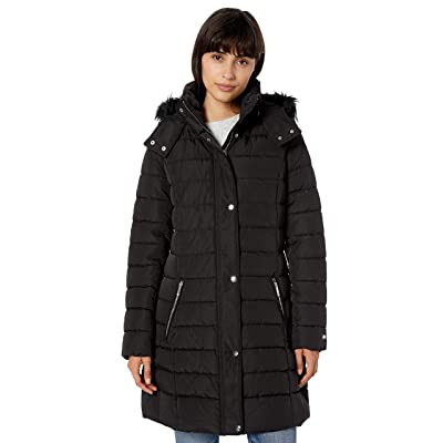 Tommy Hilfiger Women's Midlength Puffer Jacket with Faux Fur Trimmed Hood at Women's Coats Shop
