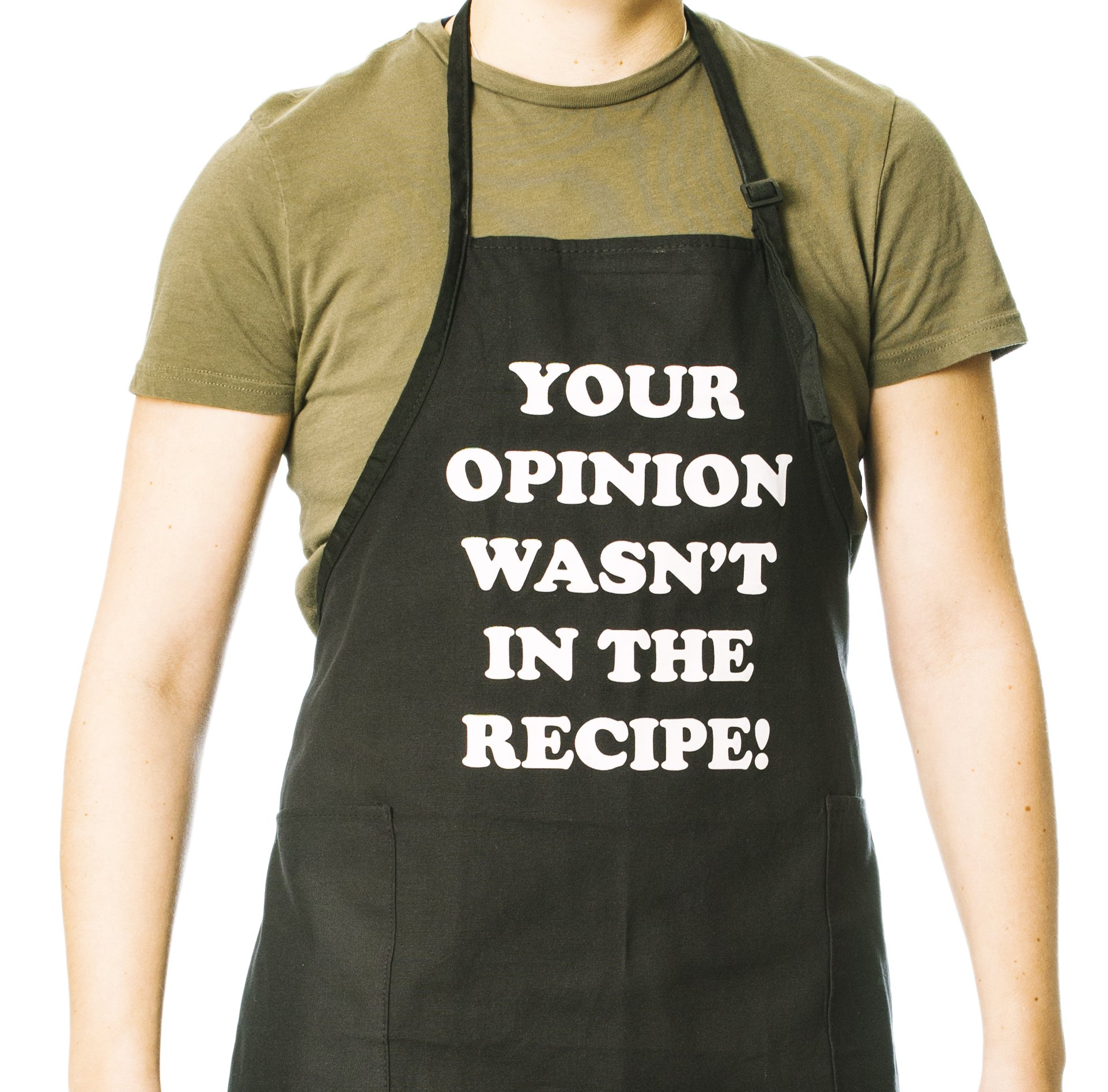 Funny Guy Mugs Your Opinion Wasn't In The Recipe Adjustable Apron with Pockets by Funny Guy Mugs