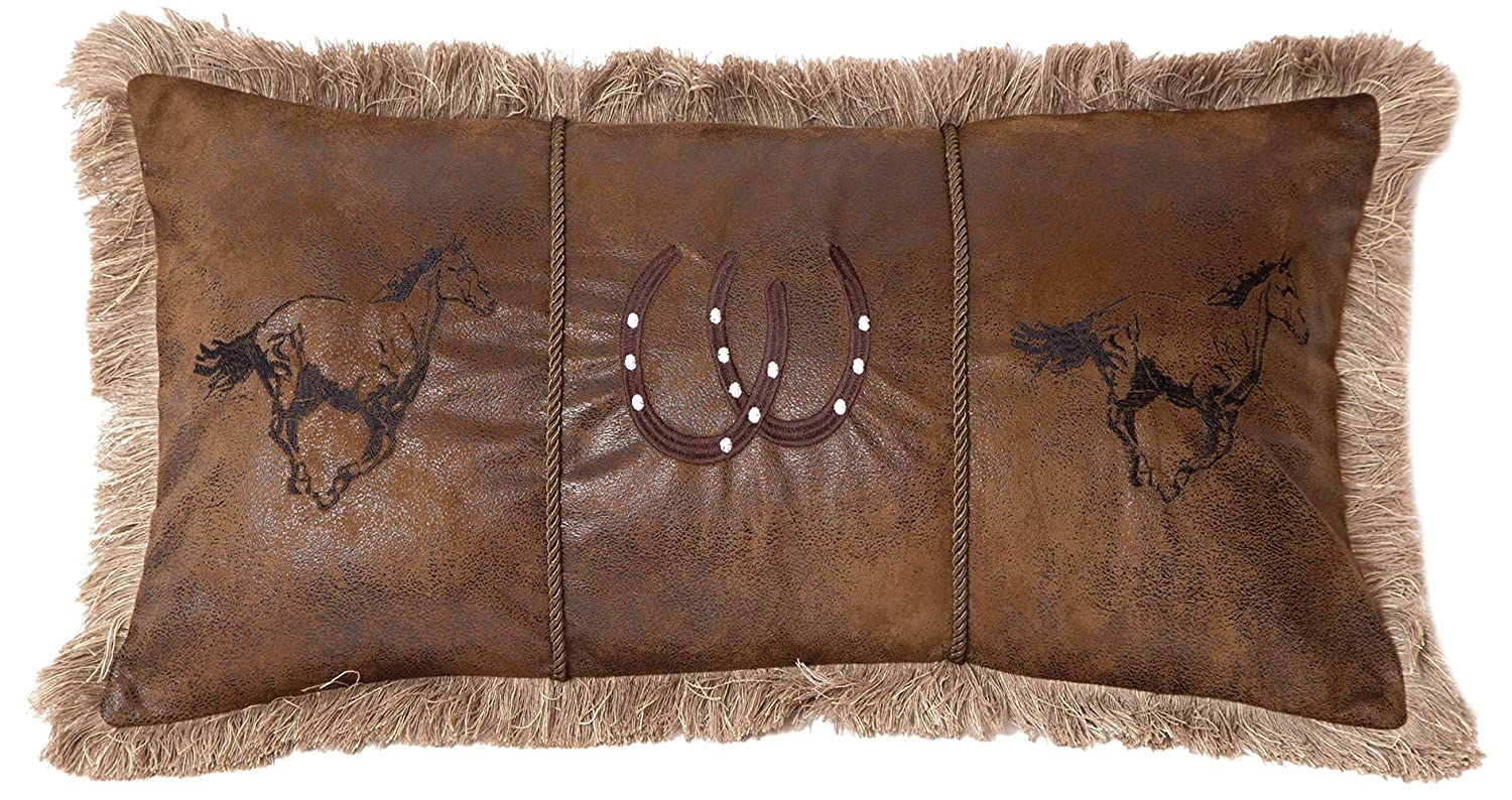 Inc Running Horses Faux Leather Decorative Pillow Carstens Multicolor 14 x 26