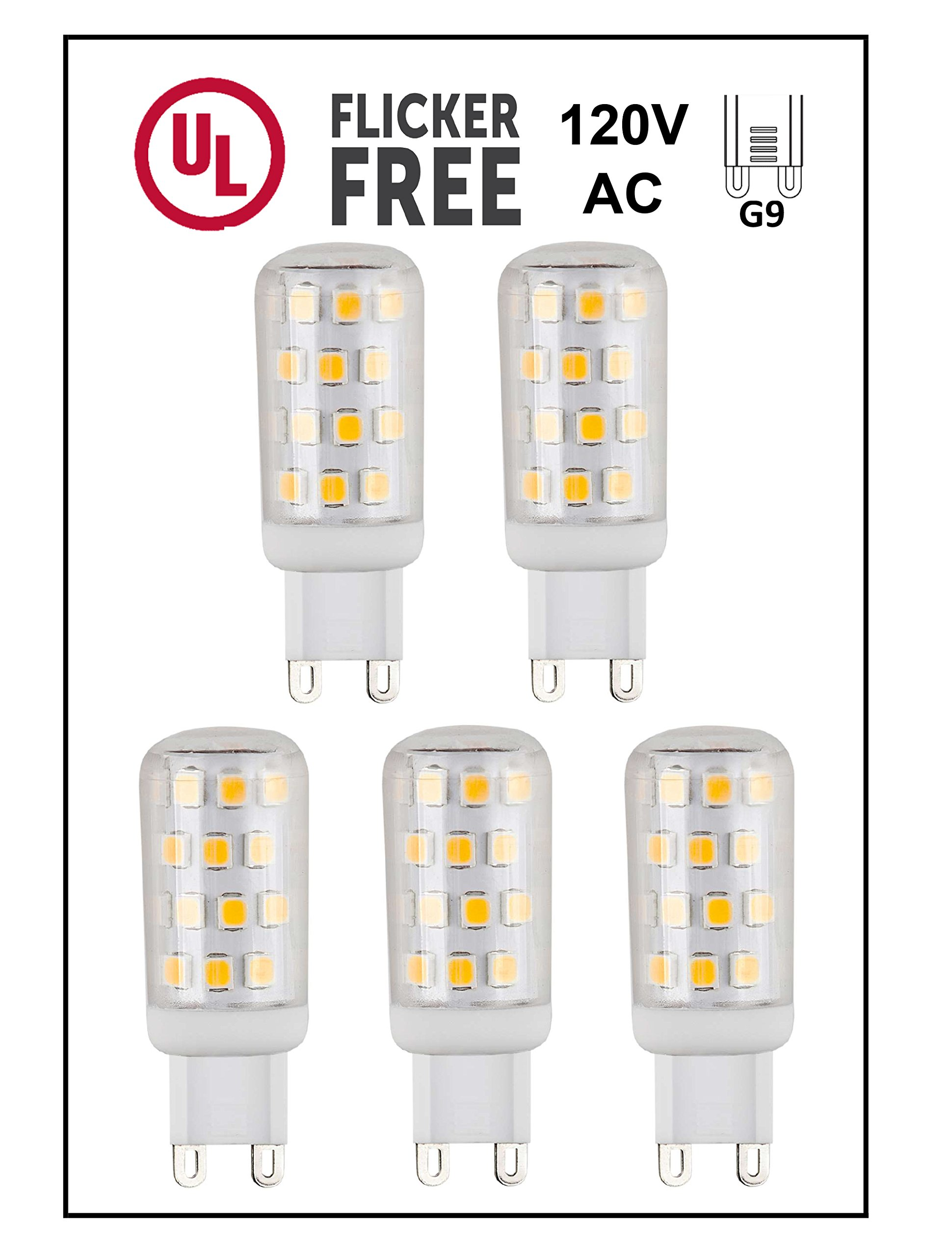 CBConcept UL-Listed, G9 LED Light Bulb, 5-Pack, 3 Watt, 310 Lumens, Warm White 3000K, 360° Beam Angle, 120 Volt, 40W Equivalent, JCD Halogen G9 Replacement Bulb, Not Dimmable