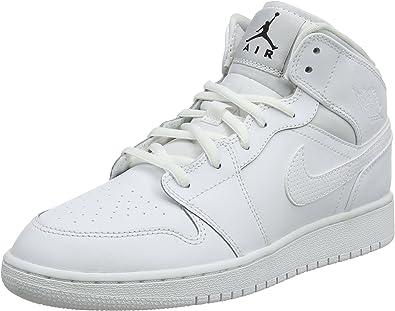 Nike Air Jordan 1 Mid Bg Scarpe da Basket Bambino, Bianco